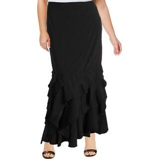Tadashi Shoji Womens Maxi Skirt Silk Contras Ruffled - 16