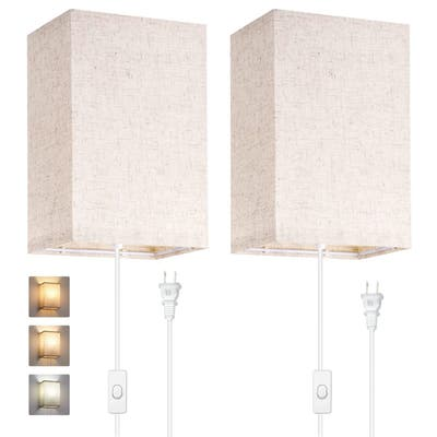 1-Light Square Fabric Wall Lamp with Bulb(2 pack)