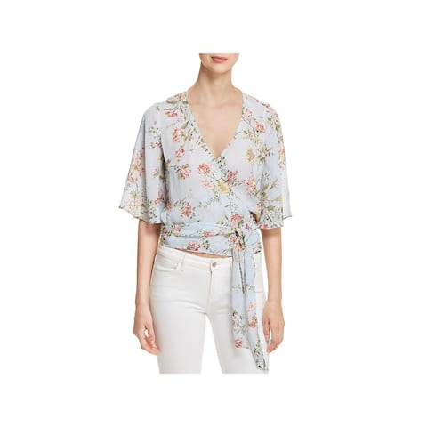 Red Haute Womens Wrap Top Sheer Floral - S