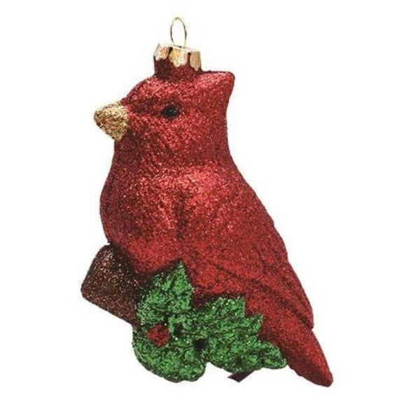 """4.25"""" Merry & Bright Glitter Drenched Shatterproof Cardinal Bird on Branch Christmas Ornament - RED"""