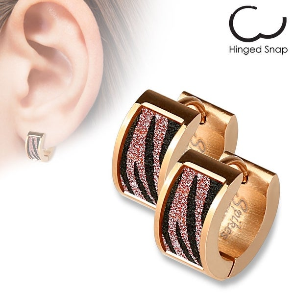 Pair of Rose Gold IP Square Pink Zebra Sand Sparkle Stainless Steel Hoop Earrings