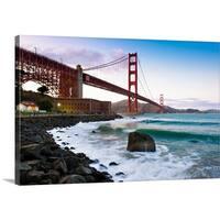 Premium Thick-Wrap Canvas entitled Classic Golden gate bridge. - Multi-color