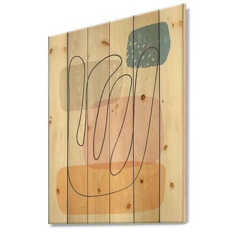 Designart 'Minimal Elementary Organic And Geometric Compostions XXXXXXXXV' Modern Print on Natural Pine Wood
