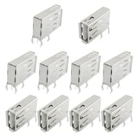 Unique Bargains 10 Pcs Computer PC USB 2.0 Female Horizontal PCB Panel Mounting Adapter