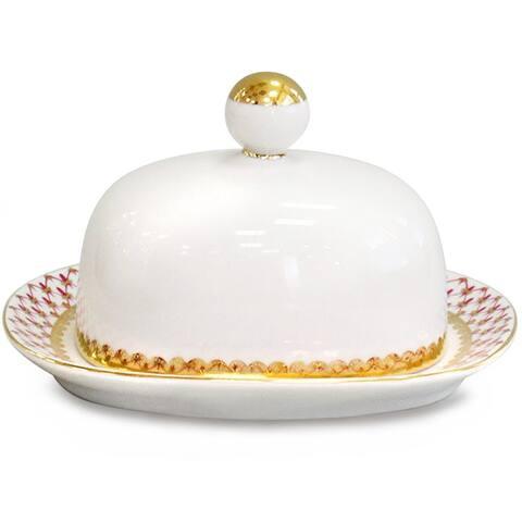 Imperial Porcelain Factory Lomonosov Net-Blues Porcelain Butter Dish