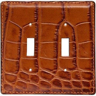 3D Western Switch Plate Gator Print Leather Double SP47