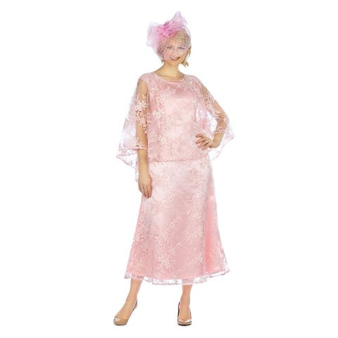 Giovanna Signature Lace Dress & Hi-Lo Pull Over Lace Cape Set
