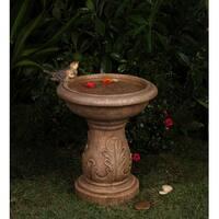 "18.1"" Latte Brown Italian Leaf Faux Stone Outdoor Patio Garden Birdbath Fountain"