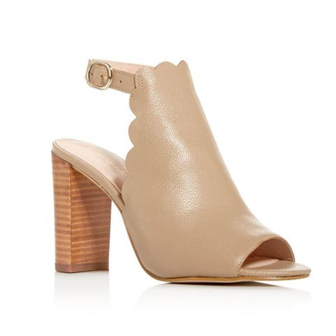 Kate Spade Women's Leather Olivia Scalloped Block - Heel Sandals Beige