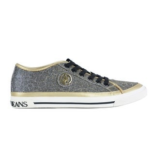 Armani Jeans Women's Gold Black Round Toe Lace up Sneakers