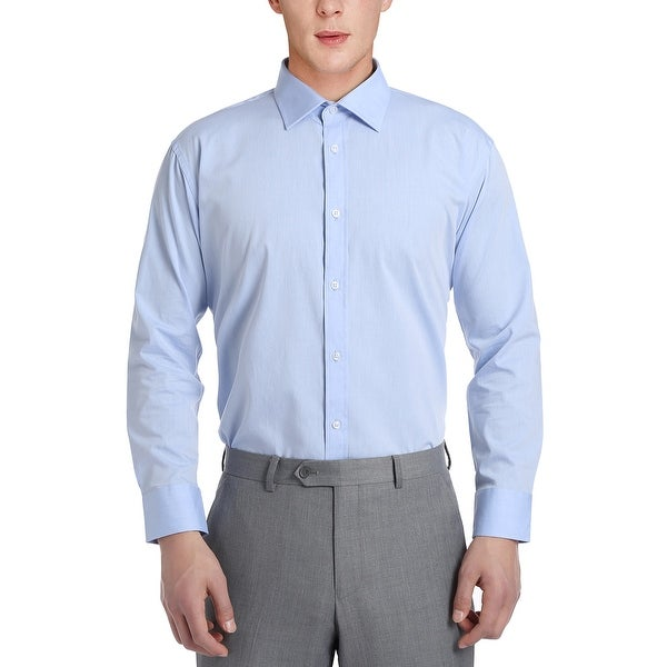 Mens No Iron Slim Fit Performance Solid Spread Collar Dress Shirt