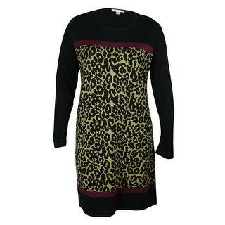 London Times Women's Animal Print Sweater Dress