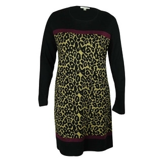 London Times Women's Animal Print Sweater Dress - Black/Camel