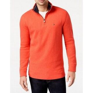 Tommy Hilfiger Pumpkin Orange Mens Size XL 1/2 Zip Ribbed Sweater