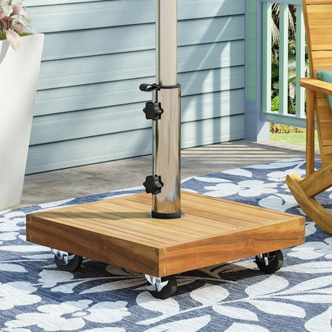 Ralph Outdoor Acacia Wood and Stainless Steel Outdoor 49lb Square Umbrella Base by Christopher Knight Home