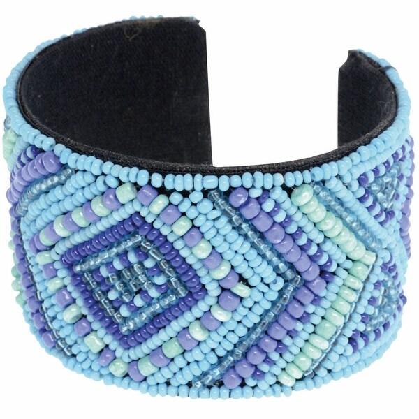 Women's Diamond Seed Beaded Cuff Bracelet - Pink