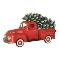 "Set of 2 Musical 1948 Ford Truck Retro Christmas Decoration 10.25"" - Red"