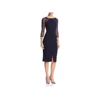 JS Collections Womens Cocktail Dress Embroidered Illusion
