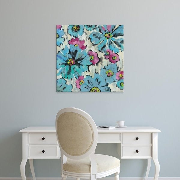 Easy Art Prints Silvia Vassileva's 'Graphic Pink and Blue Floral I' Premium Canvas Art