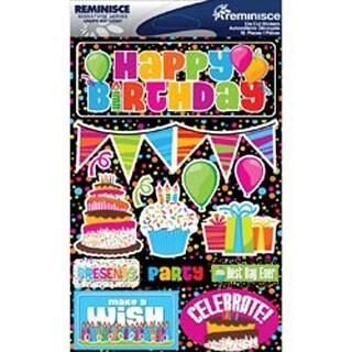 "Happy Birthday - Signature Dimensional Stickers 4.5""X6"" Sheet"