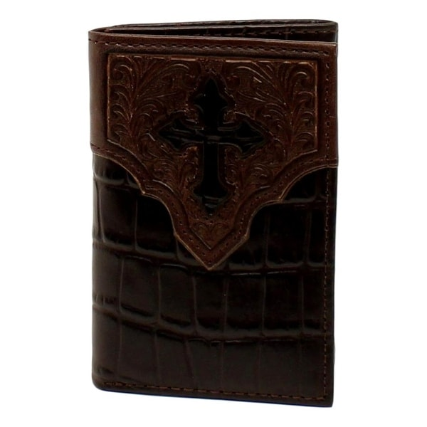 Ariat Western Wallet Mens Trifold Cross Croc Overlay Brown - One size