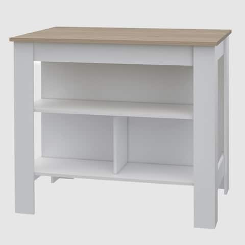Lindon Kitchen Island in White with Oak Top