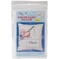 """Stamped Tooth Fairy Pillow Cover 8""""X8""""-Tow Truck"""