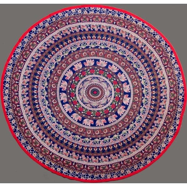 "Handmade 100% Cotton Elephant Mandala Floral 81"" Round Tablecloth Navy Blue"