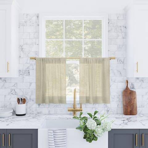 Archaeo Slub Textured Linen Blend Cafe Curtain Pair