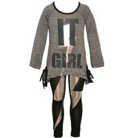 "Little Girls Charcoal ""It Girl"" Shiny Panel Detail 2 Pc Legging Outfit"