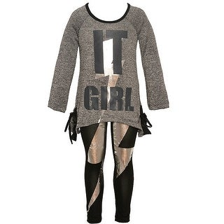 """Little Girls Charcoal """"It Girl"""" Shiny Panel Detail 2 Pc Legging Outfit"""