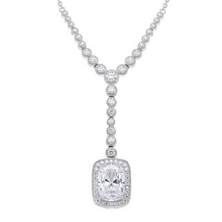 Drop Necklace with Swarovski Zirconia in Sterling Silver - White