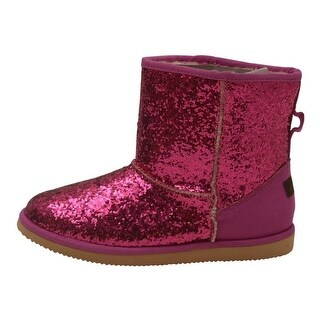 L'Amour Little Girls Fuchsia Glitter Furry Lined Suede Detail Boots 7-10 Toddler