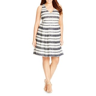 City Chic Womens Plus Sundress Lace Overlay Striped