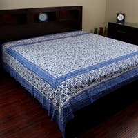 Handmade 100% Cotton Rajasthan Block Print Tapestry Tablecloth Coverlet Throw Beach Sheet Dorm Decor Twin & Full