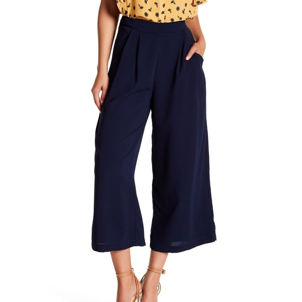 Elodie Navy Blue Women's Size Small S Pleated Capris Cropped Pants