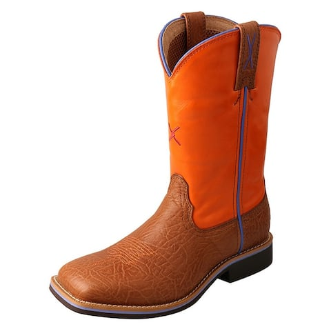 """Twisted X Work Boots Kids 9"""" Leather Pull On Tan Orange"""