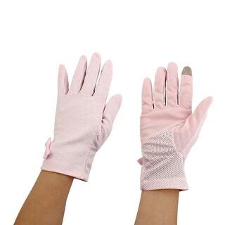 Women Anti-slip Full Finger Mitten Summer Outdoor Sun Resistant Gloves Pink Pair