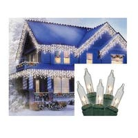 Set of 100 Clear Everglow Mini Icicle Christmas Lights - Green Wire