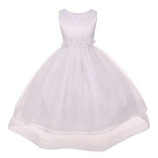 Chic Baby Girls White Lace Waist Sleeveless Layered Flower Girl Dress