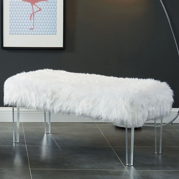 Silver Orchid Andral Contemporary Faux Fur Bench. Opens flyout.