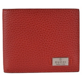 NEW Gucci Men's 352275 Red Leather Metal Tab Logo Bifold Wallet