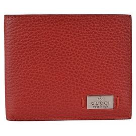 Gucci Men's 352275 Red Leather Metal Tab Logo Bifold Wallet