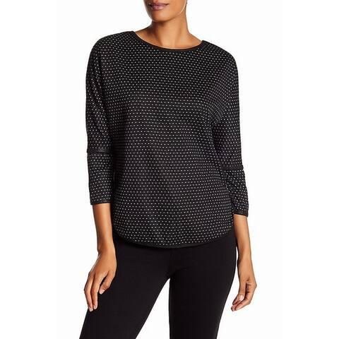 Max Studio Women's Sweater White Black Size Small S Pullover Printed