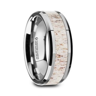 WHITETAIL Polished Beveled Tungsten Carbide Men's Wedding Band with Off White Deer Antler Inlay - 8mm