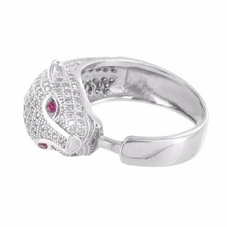 Panther Face Style Ring Pink Solitaire Eyes Sterling Silver Lab Diamonds