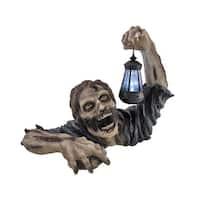`Dead Rising` Zombie Holding Lantern Solar Powered Garden Light Lamp