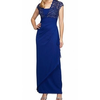 Alex Evenings NEW Royal Blue Womens Size 12P Petite Lace Gown Dress