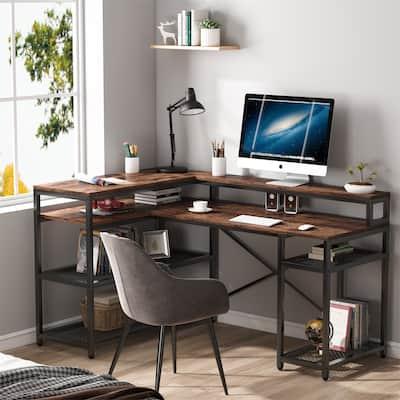 L Shaped Desk, Computer Desk with Storage Shelf, Corner Desk with Monitor Stand