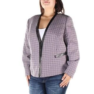 Womens Black Purple Wear To Work Suit Jacket Size 16